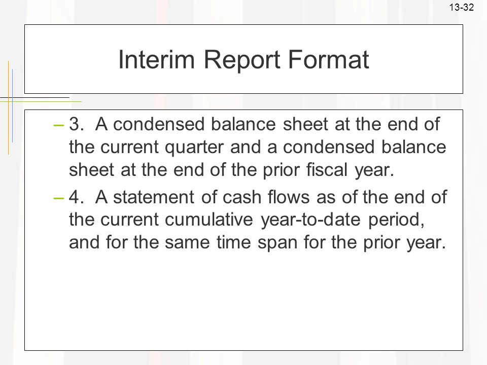 Interim Report Format