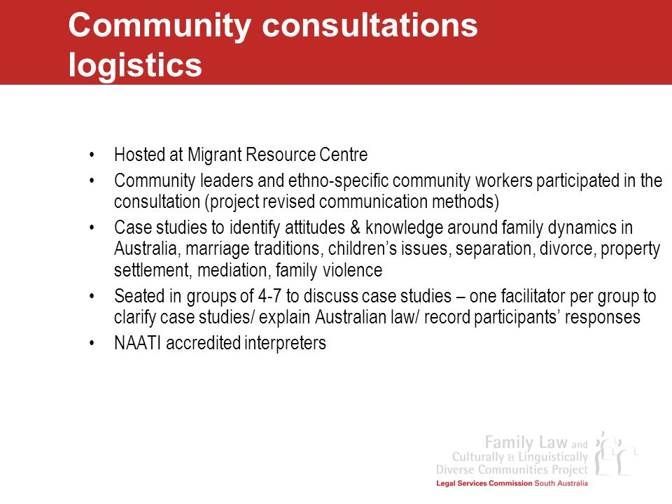 Community consultations logistics