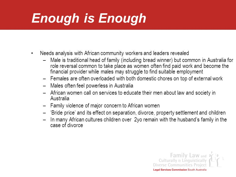Enough is Enough Needs analysis with African community workers and leaders revealed.