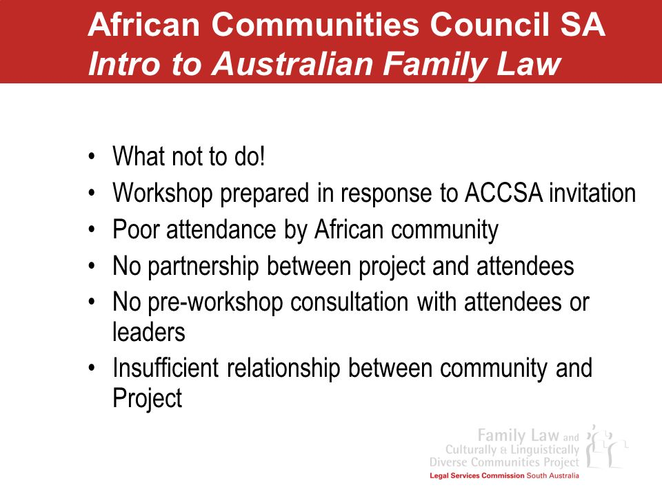 African Communities Council SA Intro to Australian Family Law