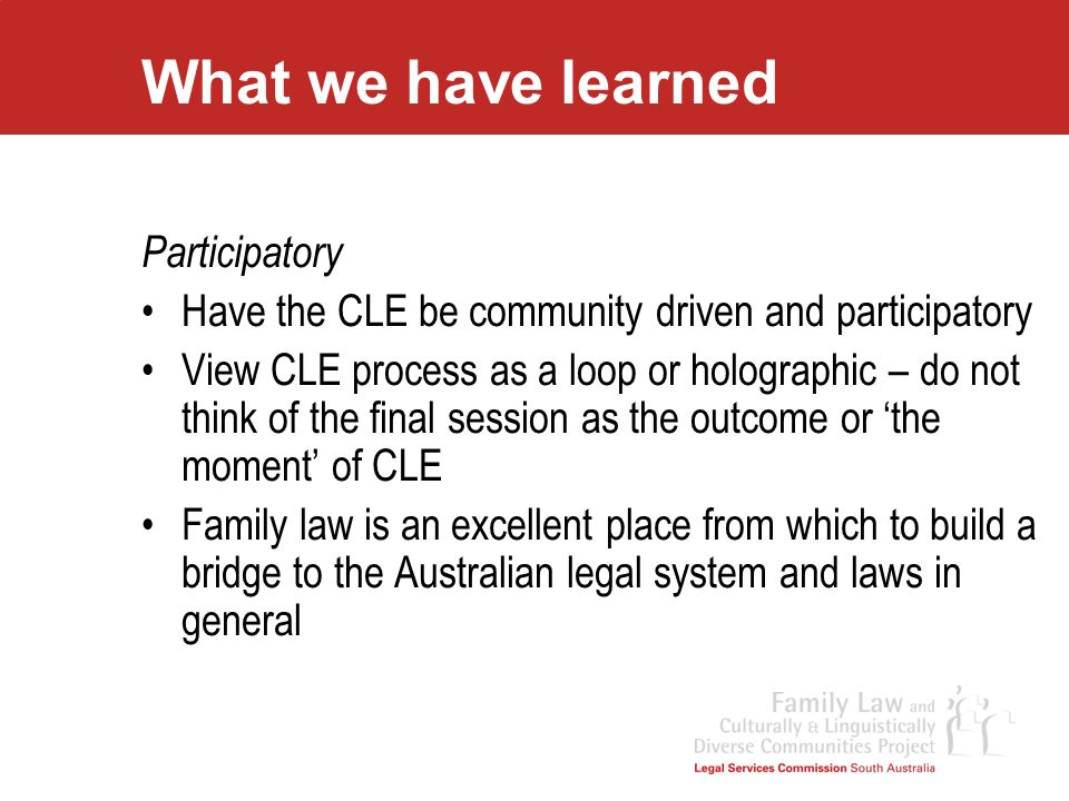 What we have learned Participatory