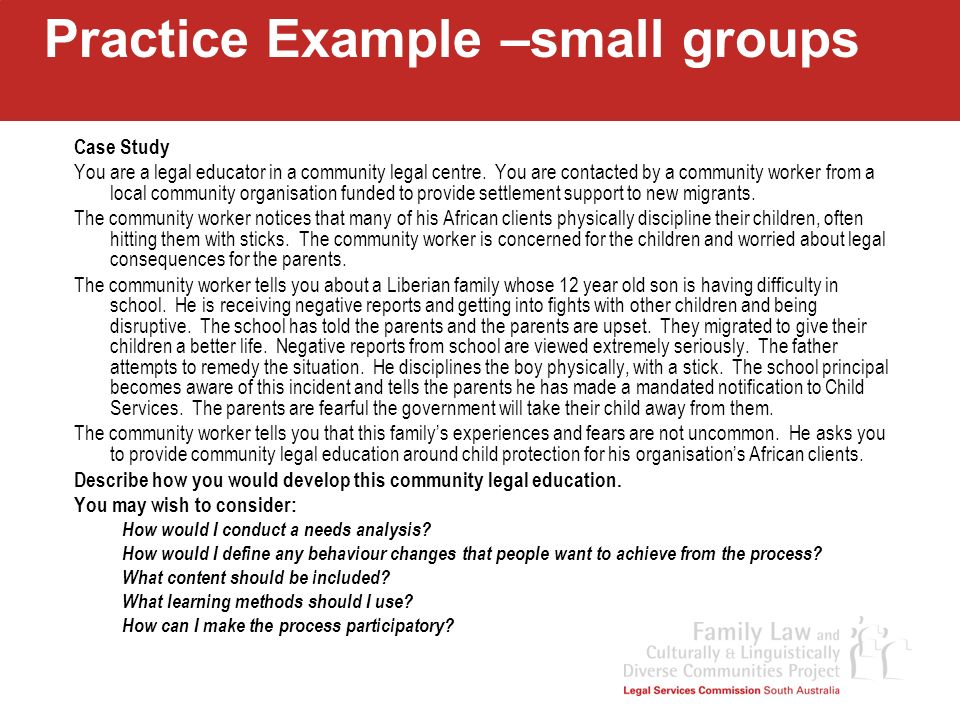 Practice Example –small groups