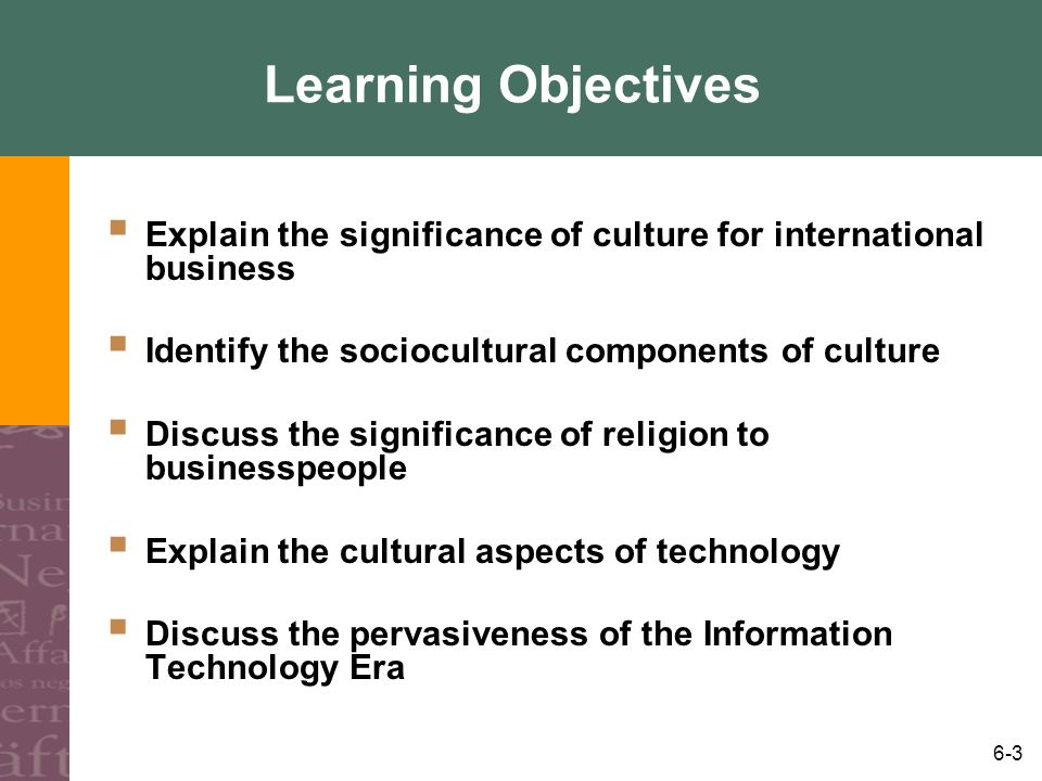 Learning Objectives Explain the significance of culture for international business. Identify the sociocultural components of culture.
