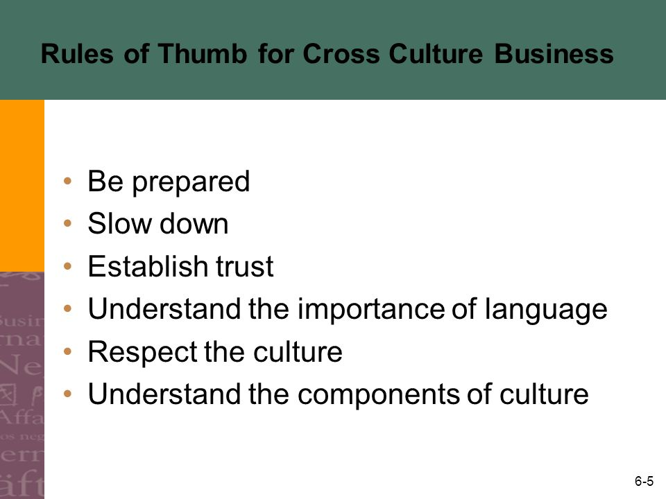 Rules of Thumb for Cross Culture Business