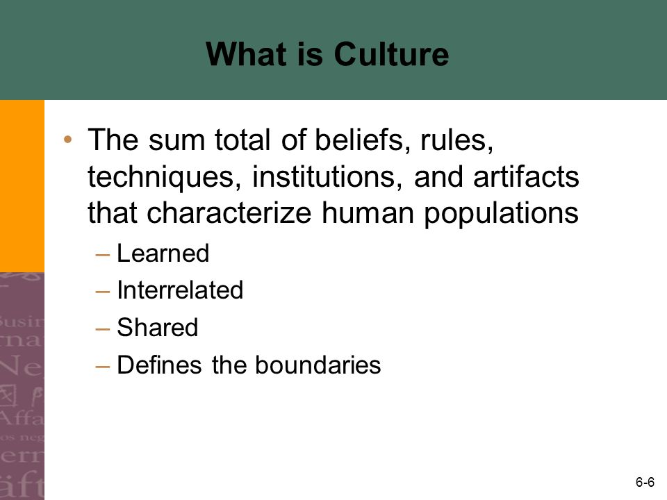 What is Culture The sum total of beliefs, rules, techniques, institutions, and artifacts that characterize human populations.