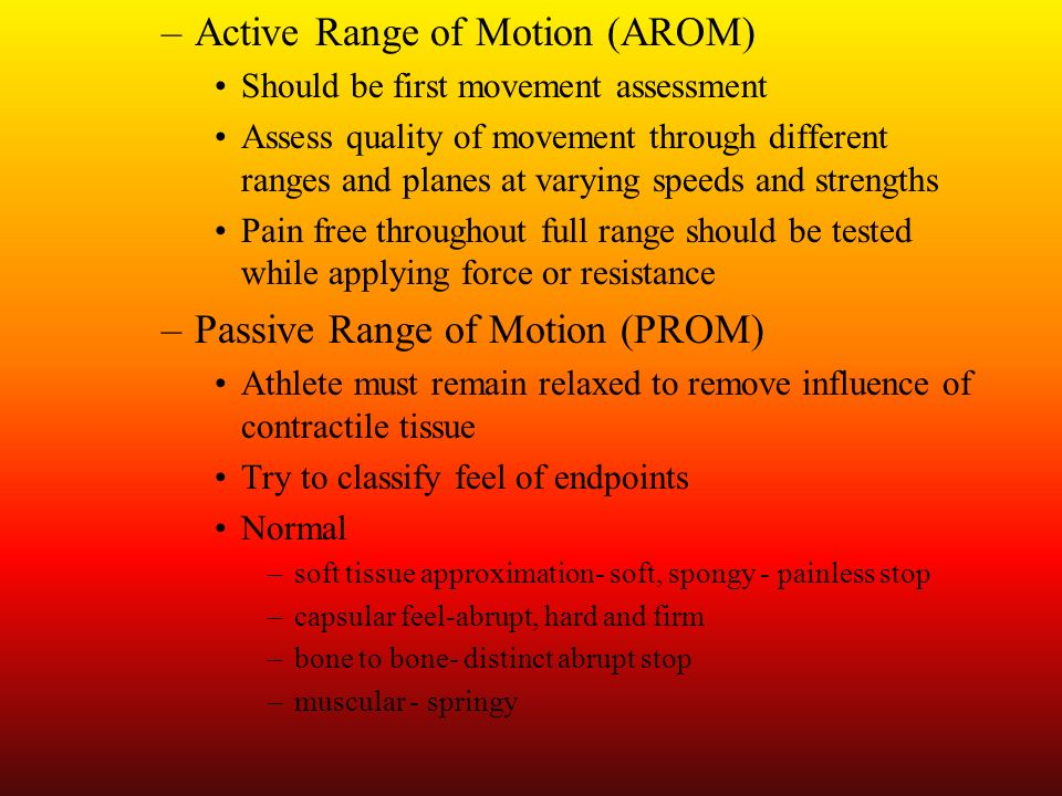 Active Range of Motion (AROM)