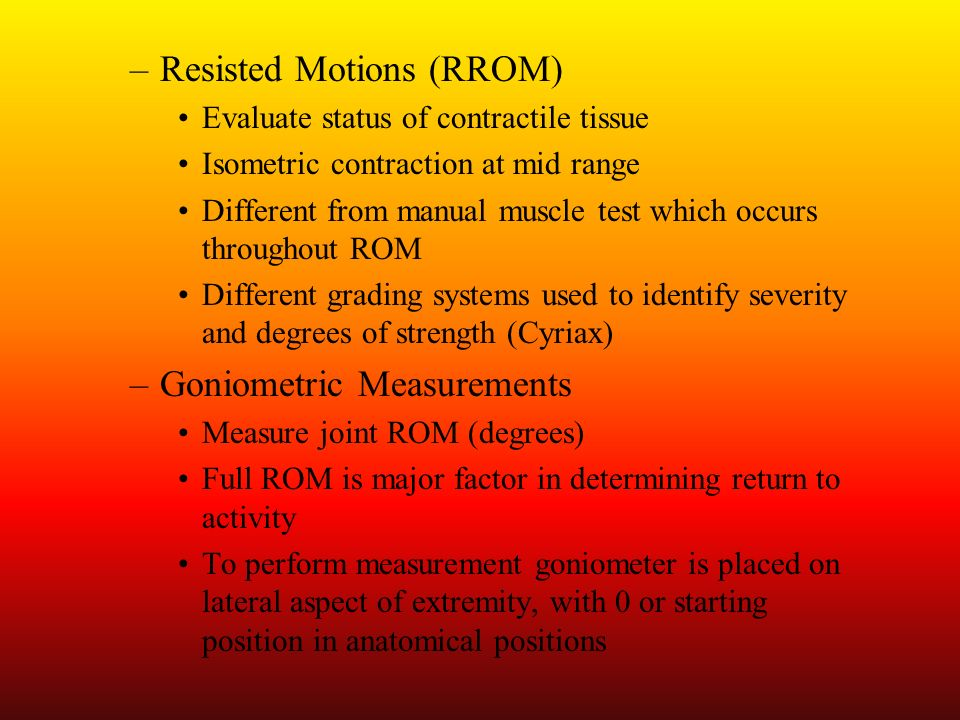 Resisted Motions (RROM)
