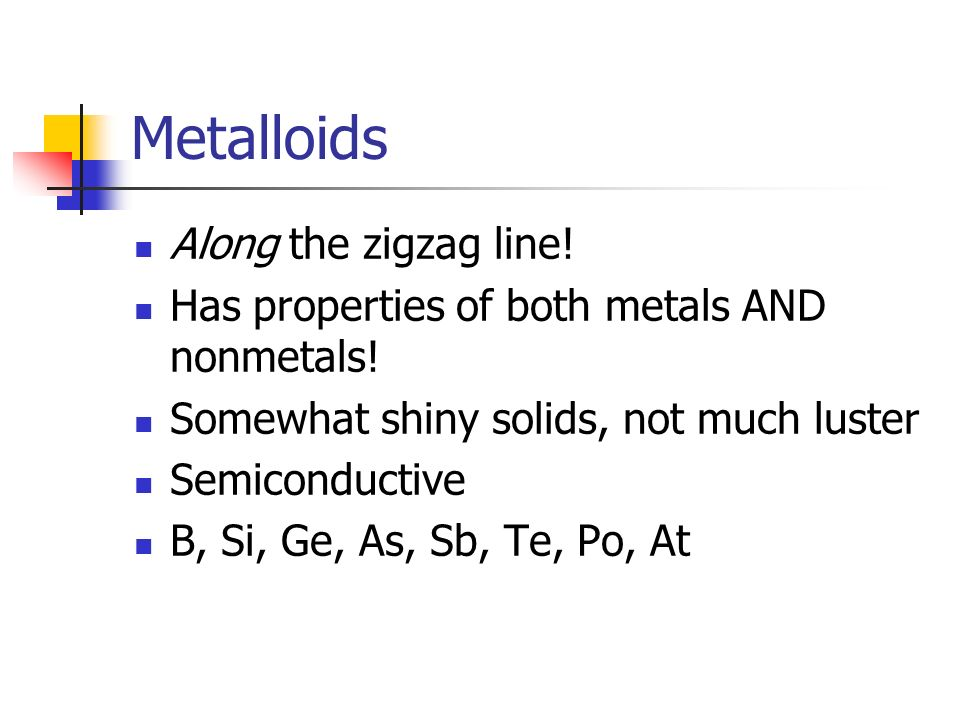 Metalloids Along the zigzag line!