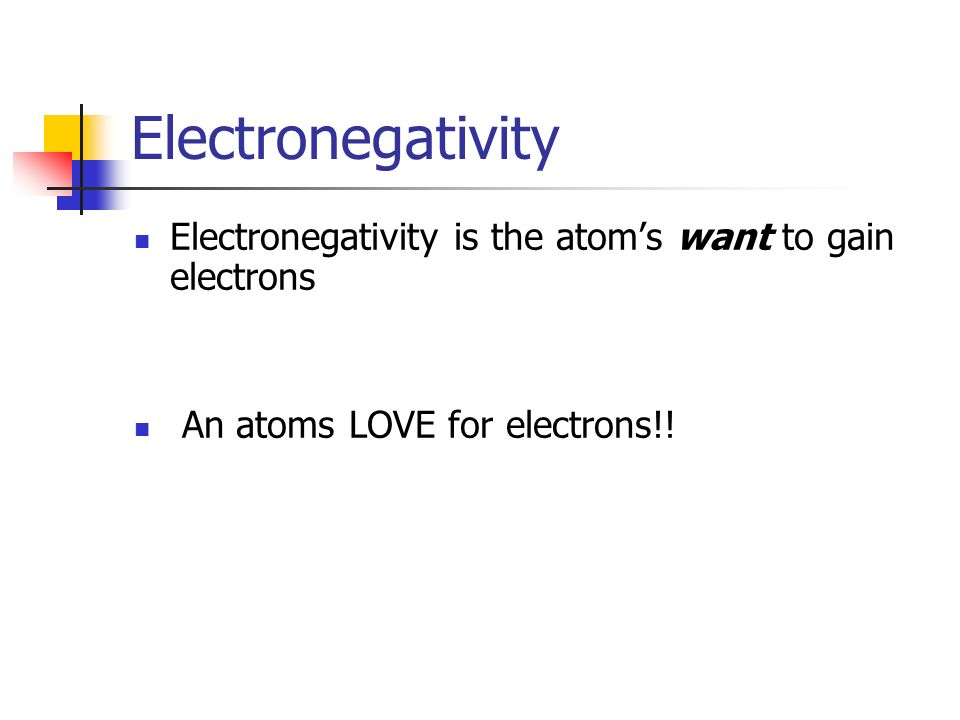 Electronegativity Electronegativity is the atom's want to gain electrons.