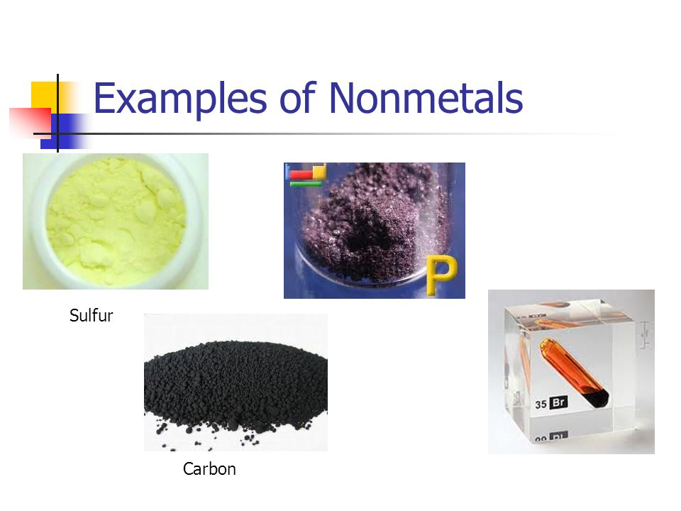 Examples of Nonmetals Sulfur Carbon