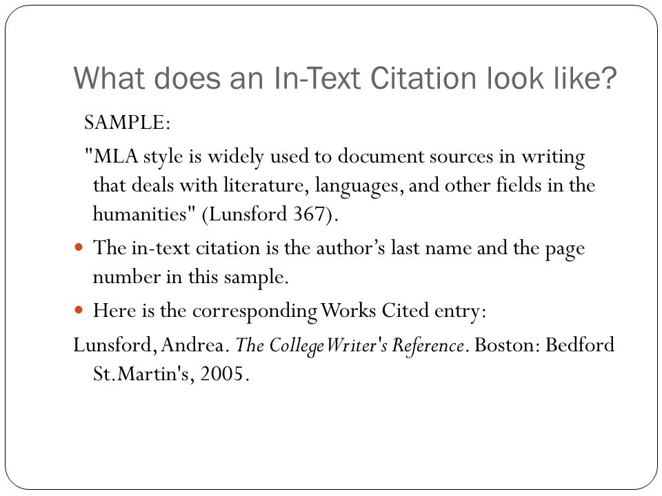 What does an In-Text Citation look like
