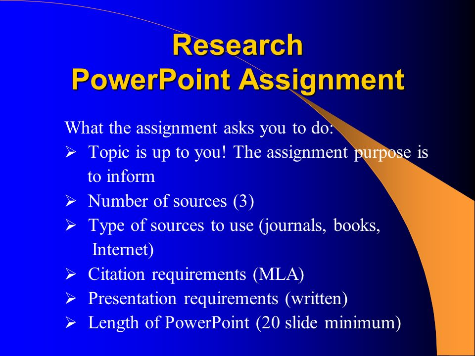 research powerpoint assignment