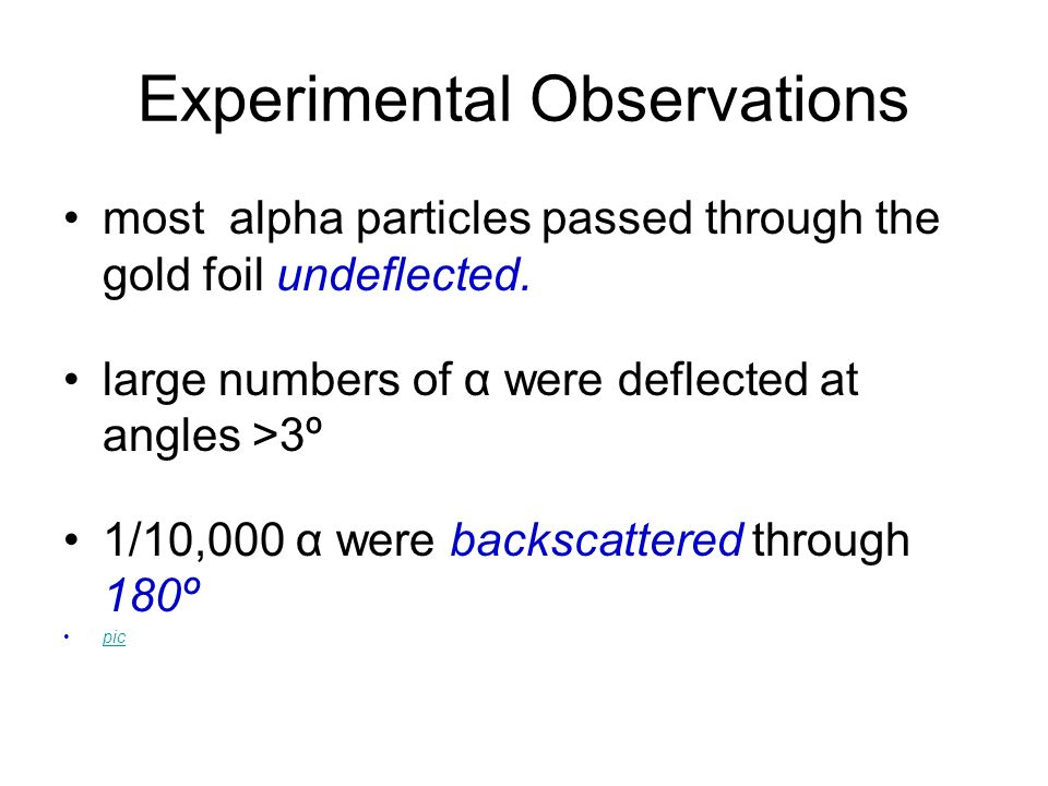 Experimental Observations