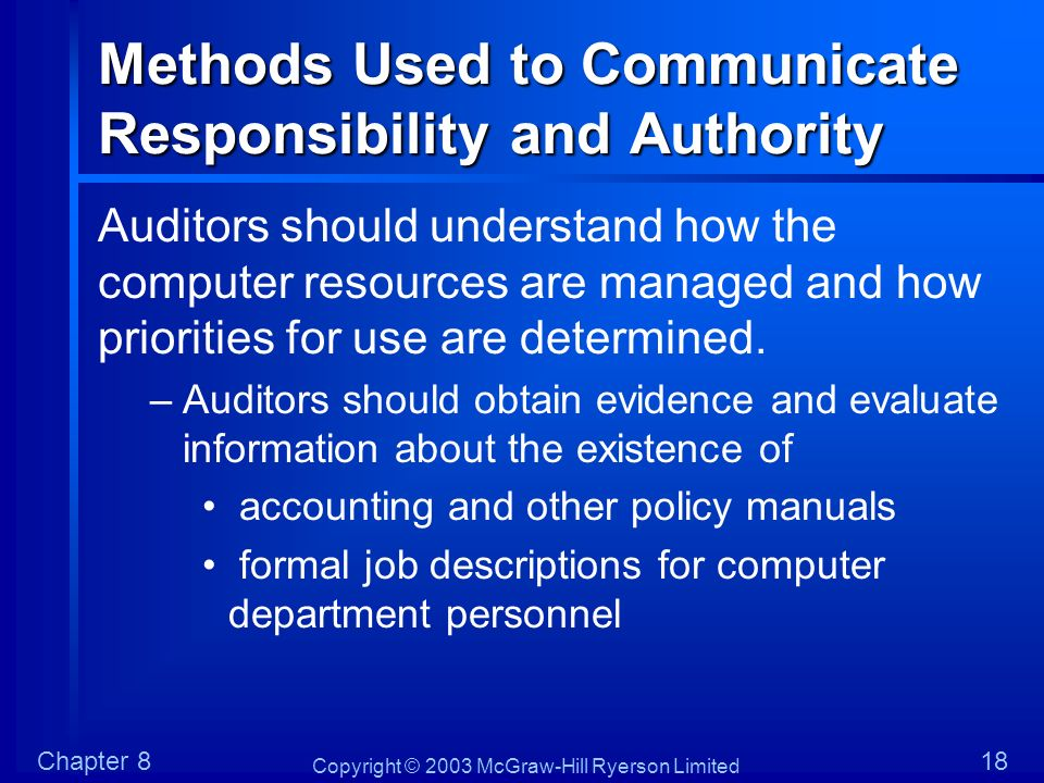 Methods Used to Communicate Responsibility and Authority
