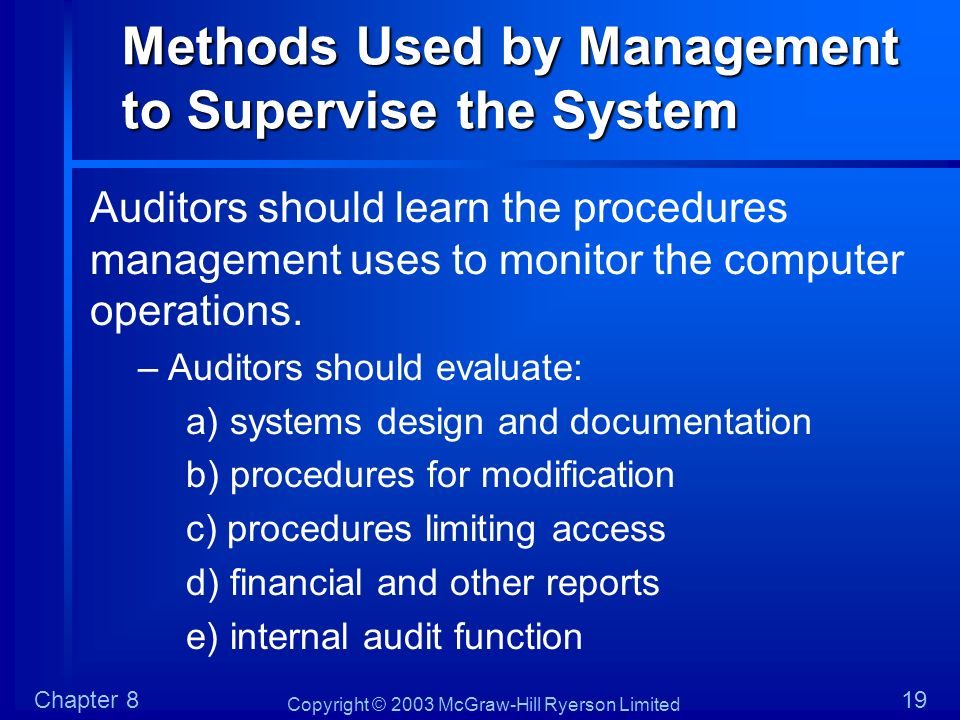 Methods Used by Management to Supervise the System