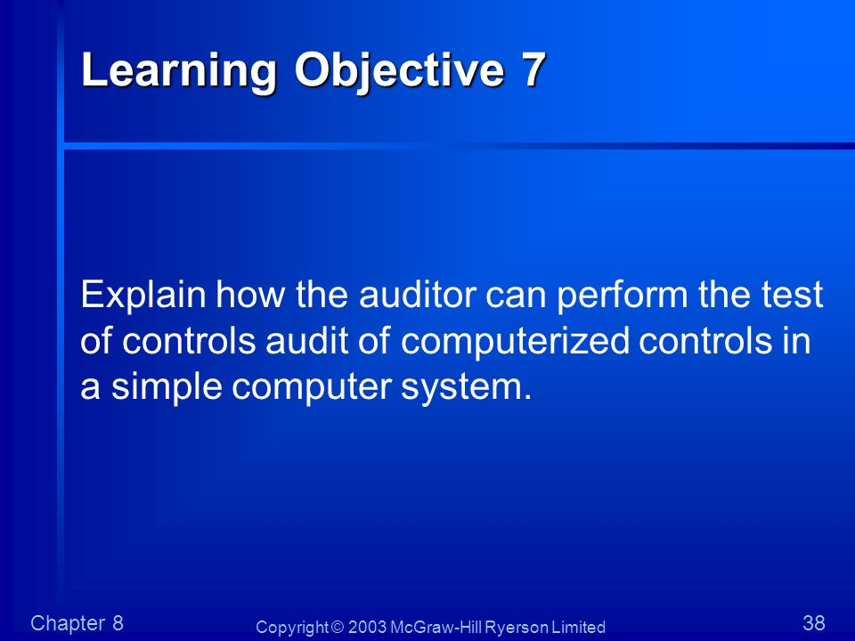 Learning Objective 7 Explain how the auditor can perform the test of controls audit of computerized controls in a simple computer system.