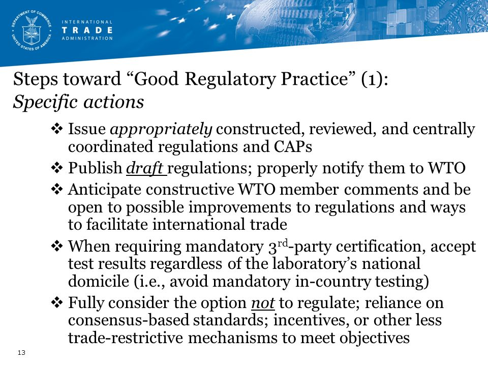 Steps toward Good Regulatory Practice (1): Specific actions
