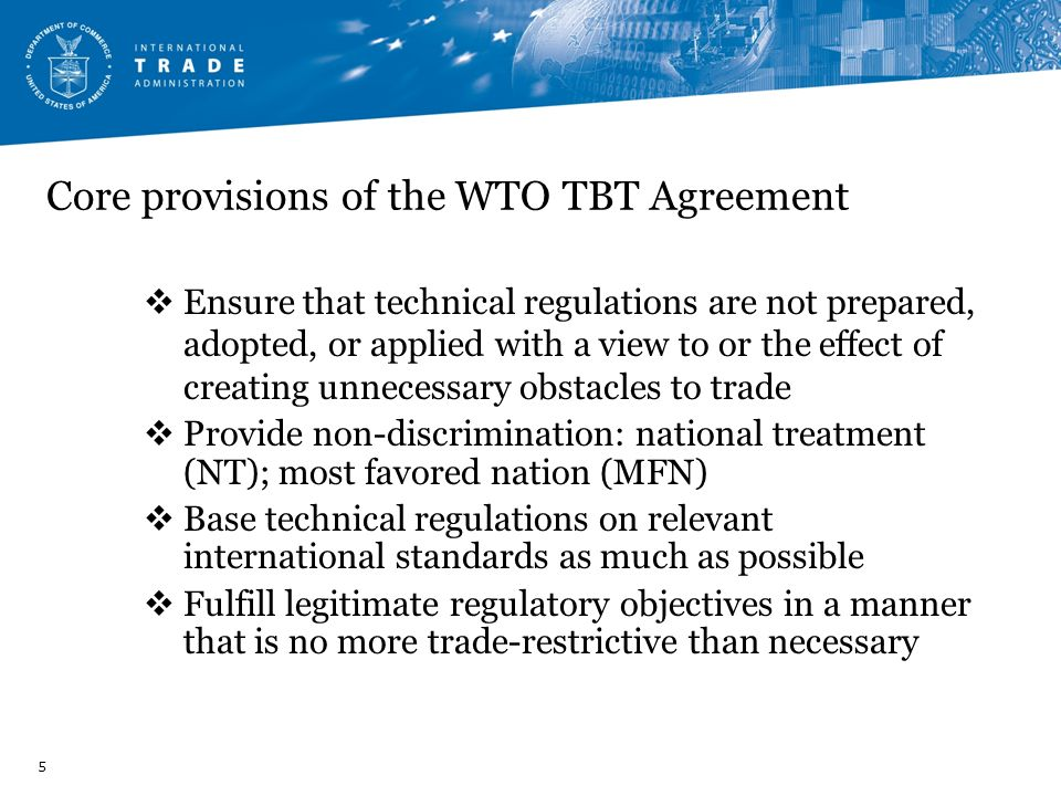 Core provisions of the WTO TBT Agreement