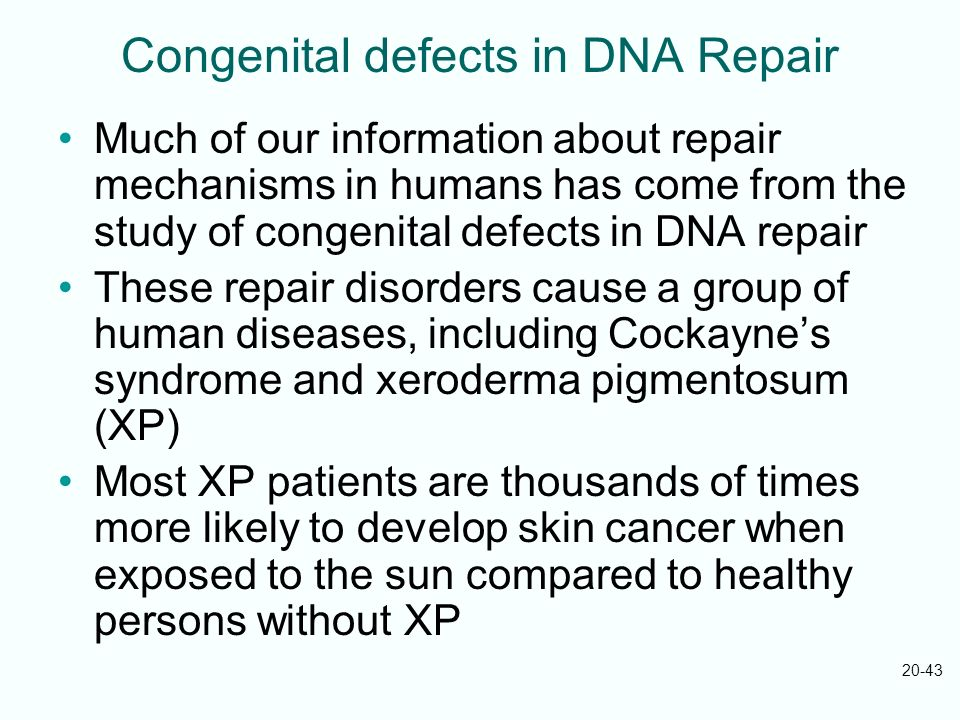 Congenital defects in DNA Repair