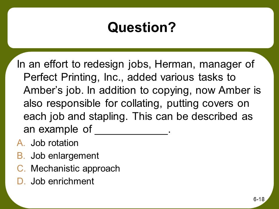 what is job enrichment with example