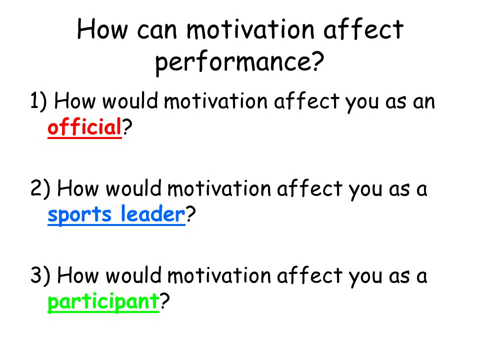 how can motivation affect sports performance