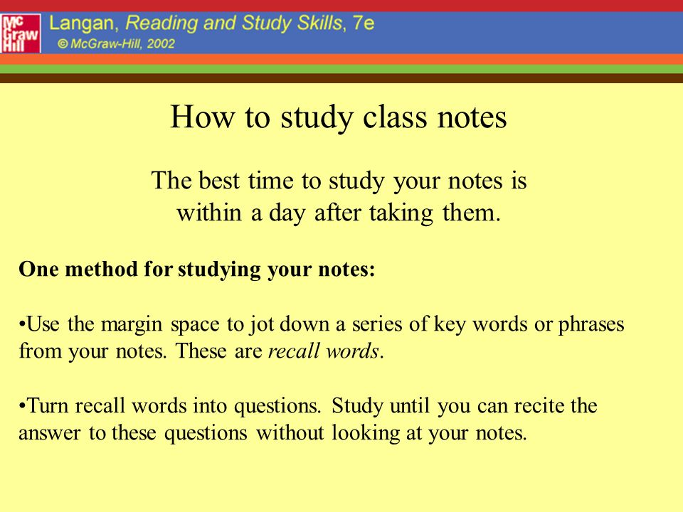 How to study class notes