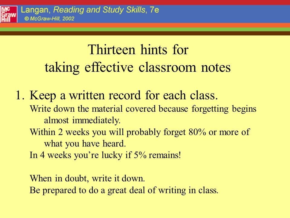 taking effective classroom notes