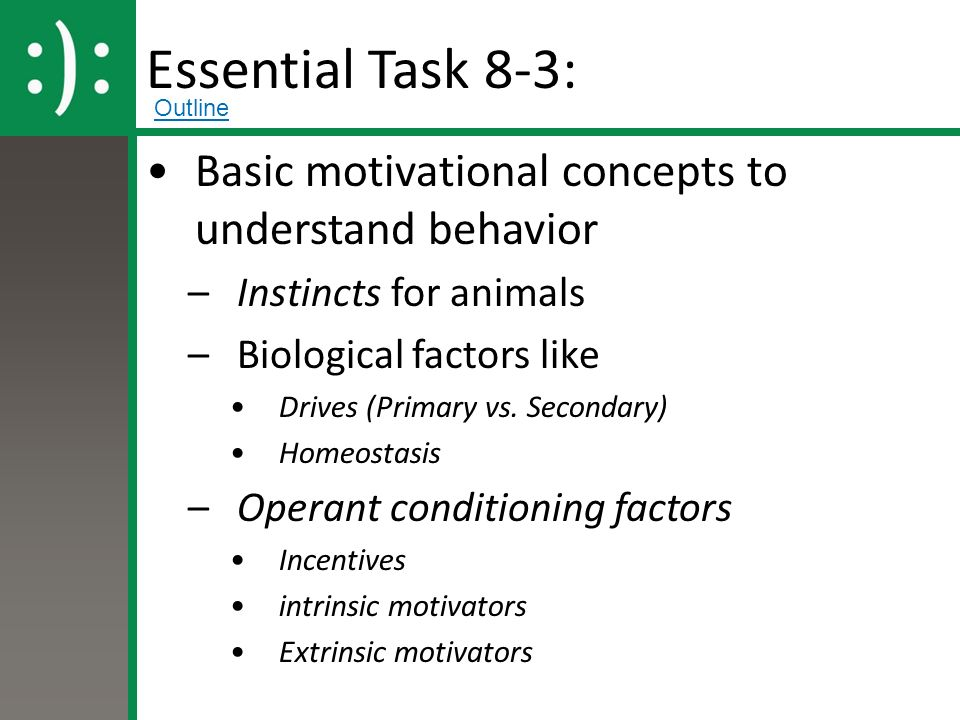 Essential Task 8-3: Basic motivational concepts to understand behavior