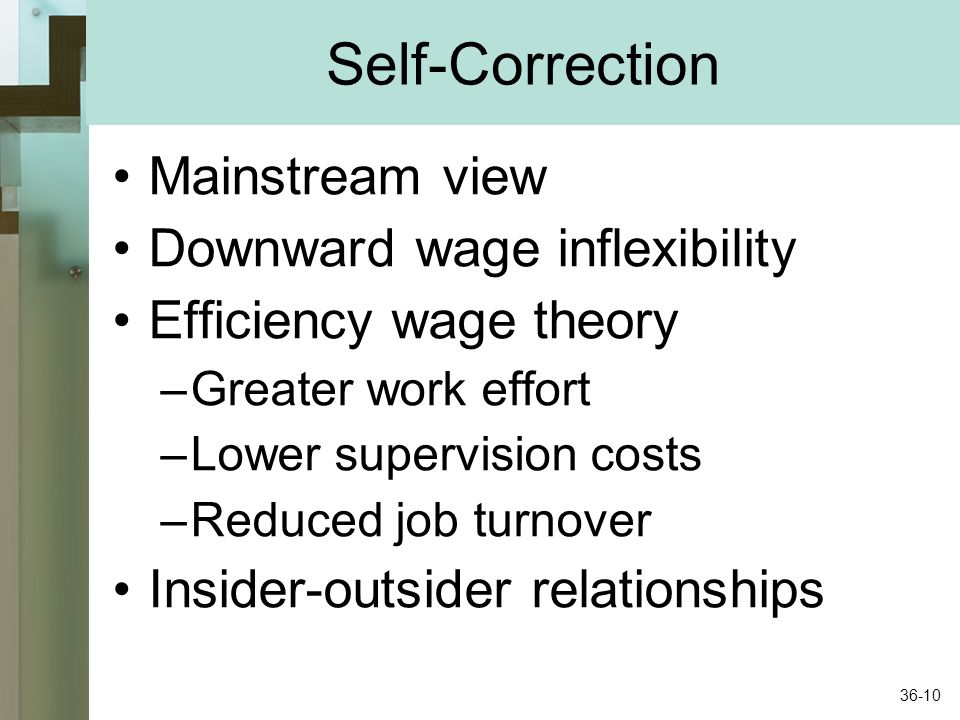 Self-Correction Mainstream view Downward wage inflexibility
