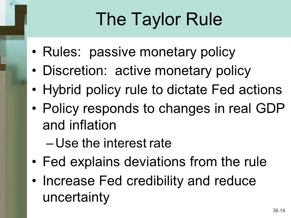 The Taylor Rule Rules: passive monetary policy