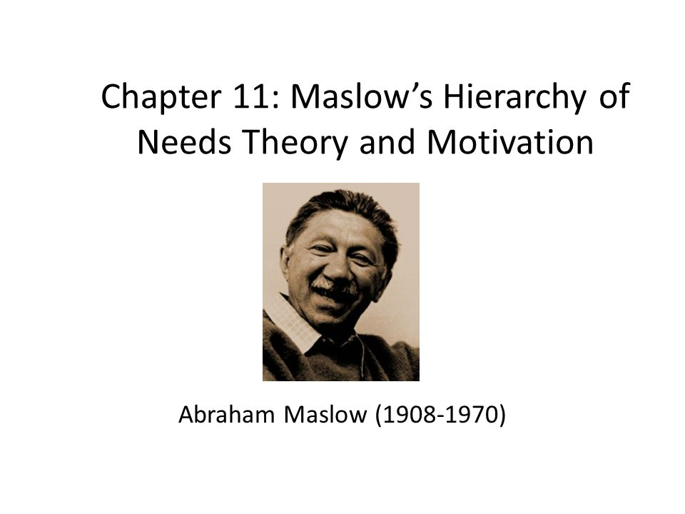 Chapter 11: Maslow's Hierarchy of Needs Theory and Motivation