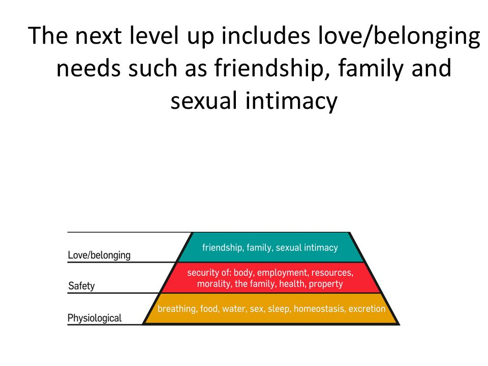 The next level up includes love/belonging needs such as friendship, family and sexual intimacy