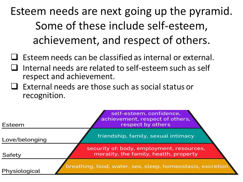 Esteem needs are next going up the pyramid