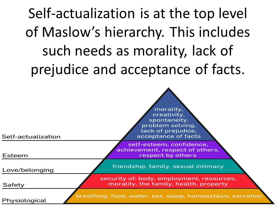 Self-actualization is at the top level of Maslow's hierarchy