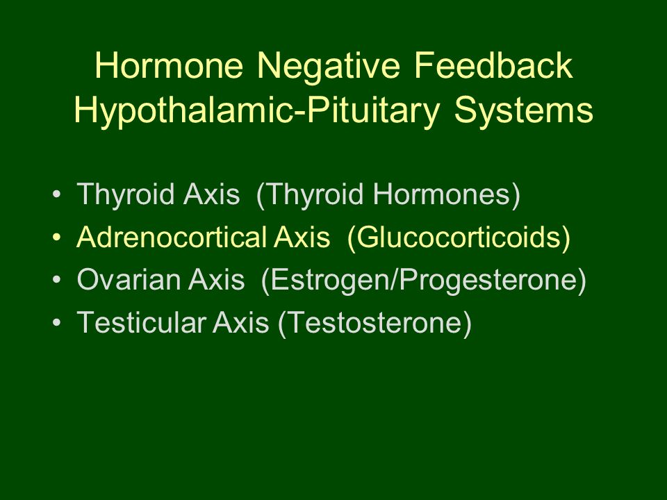 Hormone Negative Feedback Hypothalamic-Pituitary Systems