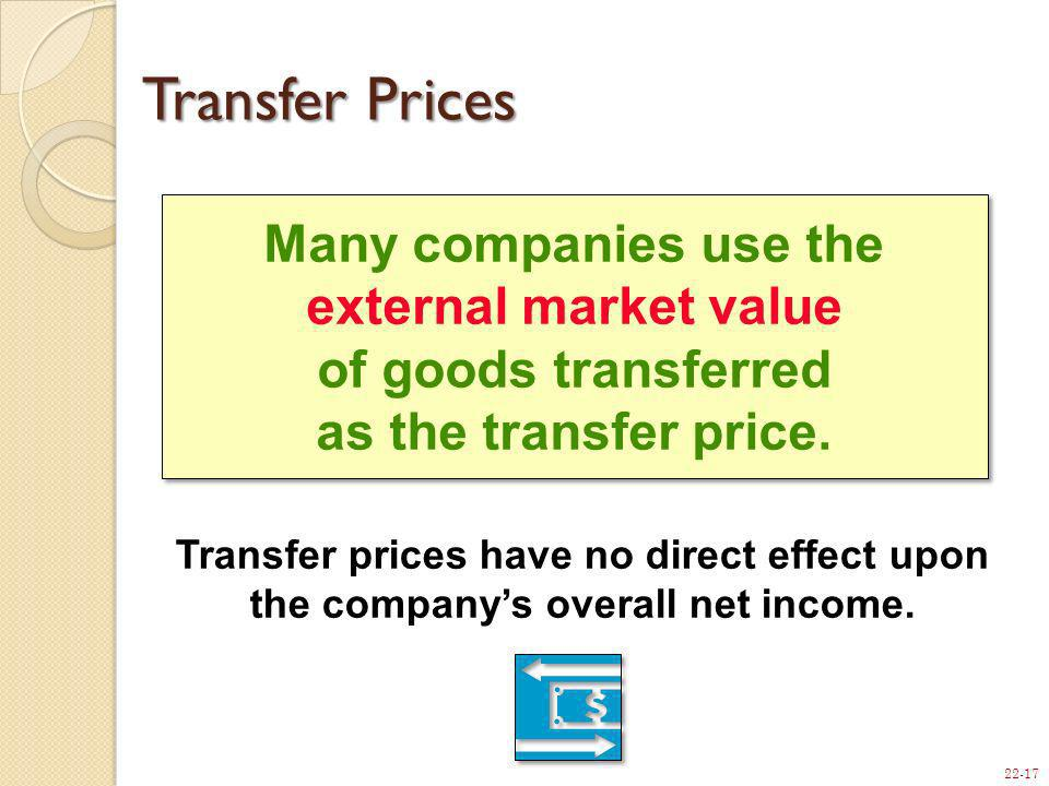 Transfer Prices Many companies use the external market value