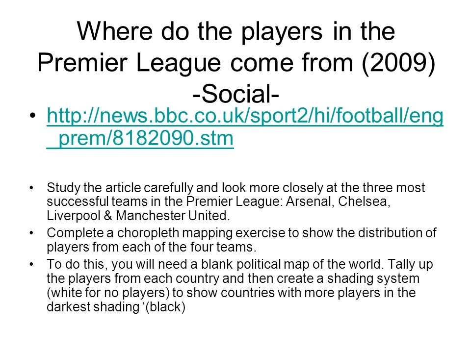 Where do the players in the Premier League come from (2009) -Social-