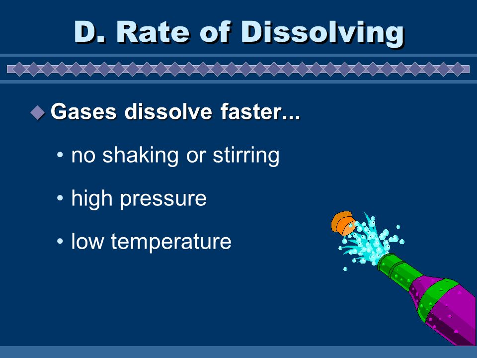 D. Rate of Dissolving Gases dissolve faster... no shaking or stirring
