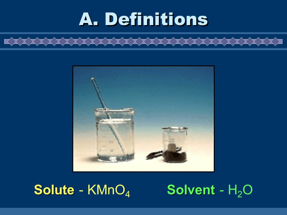 A. Definitions Solute - KMnO4 Solvent - H2O