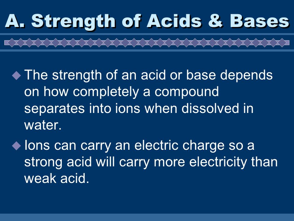 A. Strength of Acids & Bases