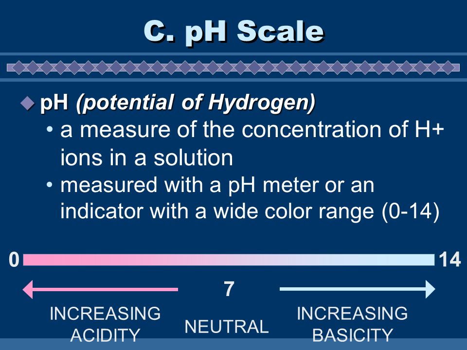 C. pH Scale a measure of the concentration of H+ ions in a solution