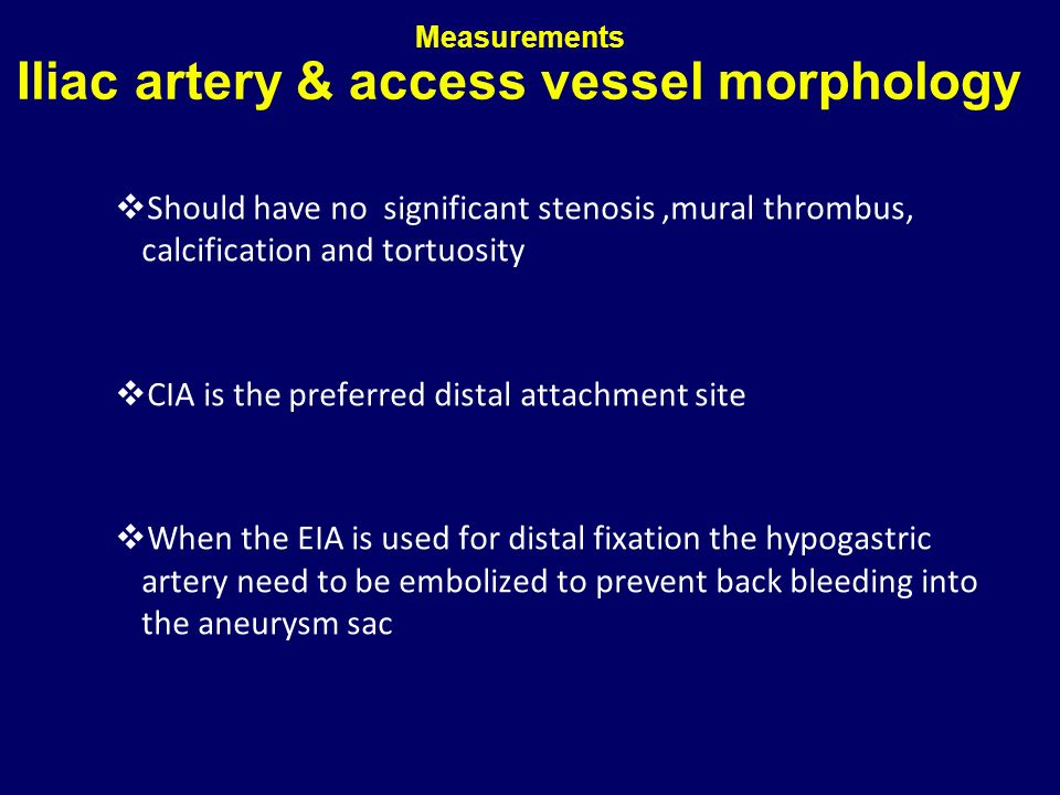 Measurements Iliac artery & access vessel morphology