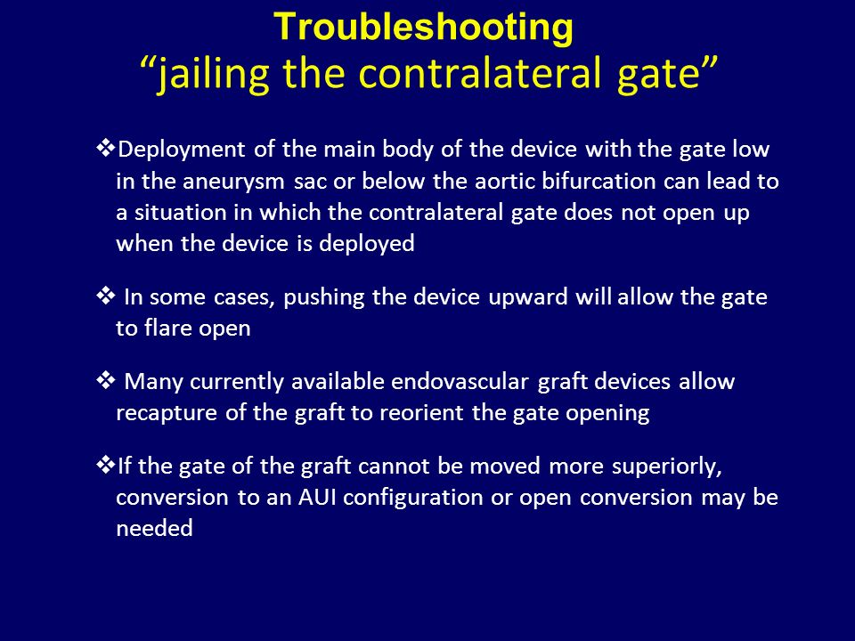 Troubleshooting jailing the contralateral gate