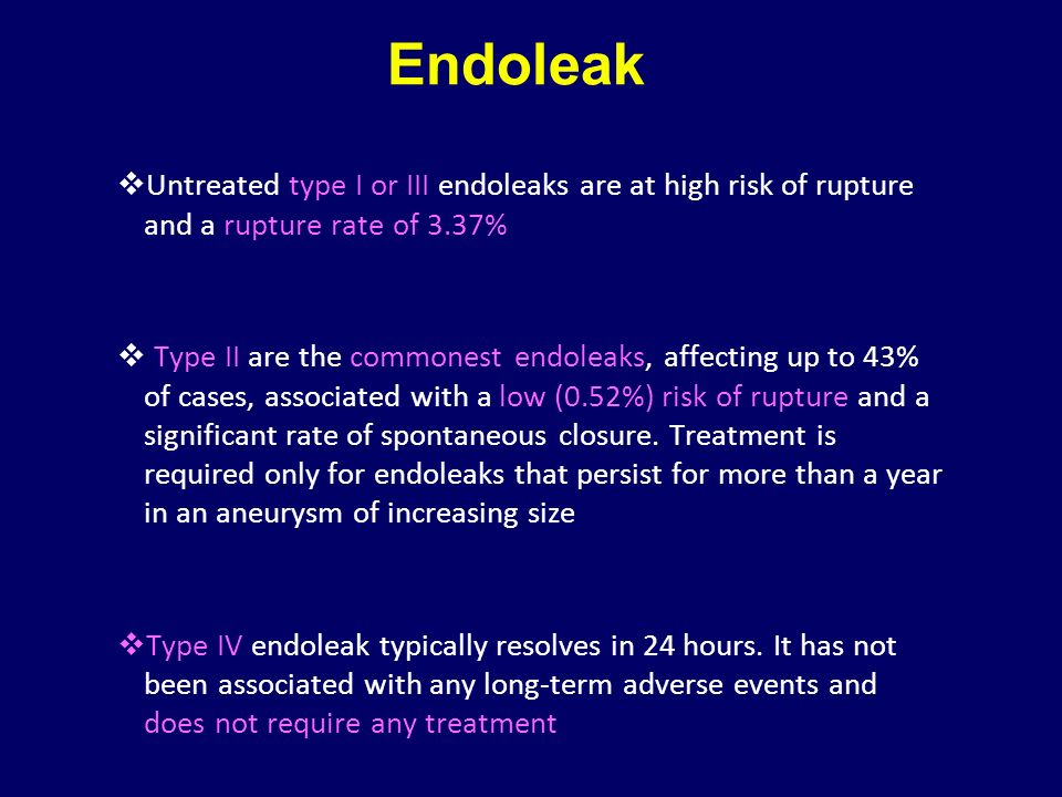 Endoleak Untreated type I or III endoleaks are at high risk of rupture and a rupture rate of 3.37%