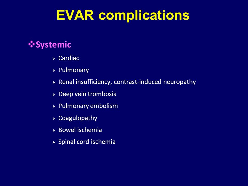 EVAR complications Systemic Cardiac Pulmonary