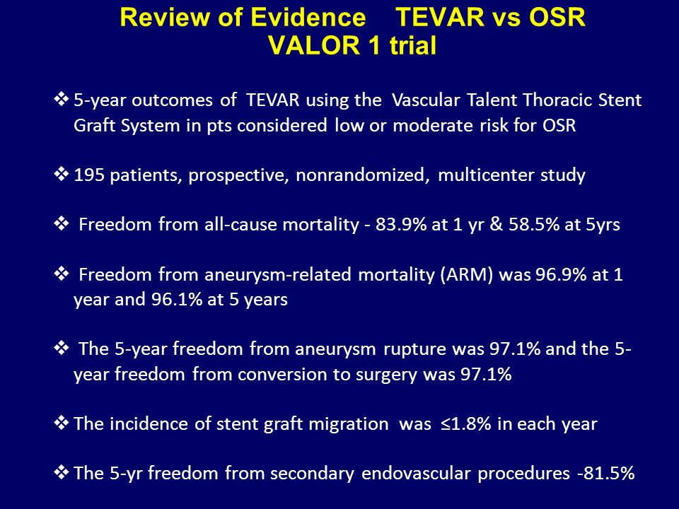 Review of Evidence TEVAR vs OSR VALOR 1 trial