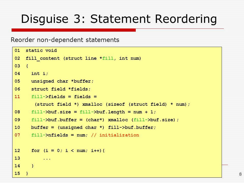 Disguise 3: Statement Reordering