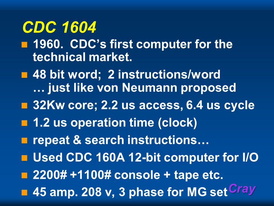 CDC 1604 1960. CDC's first computer for the technical market.