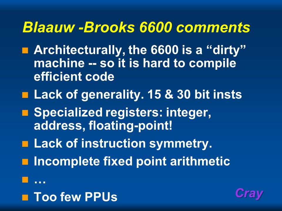 Blaauw -Brooks 6600 comments
