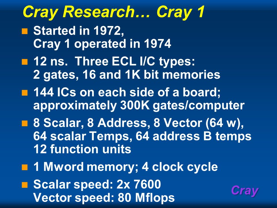 Cray Research… Cray 1 Started in 1972, Cray 1 operated in 1974